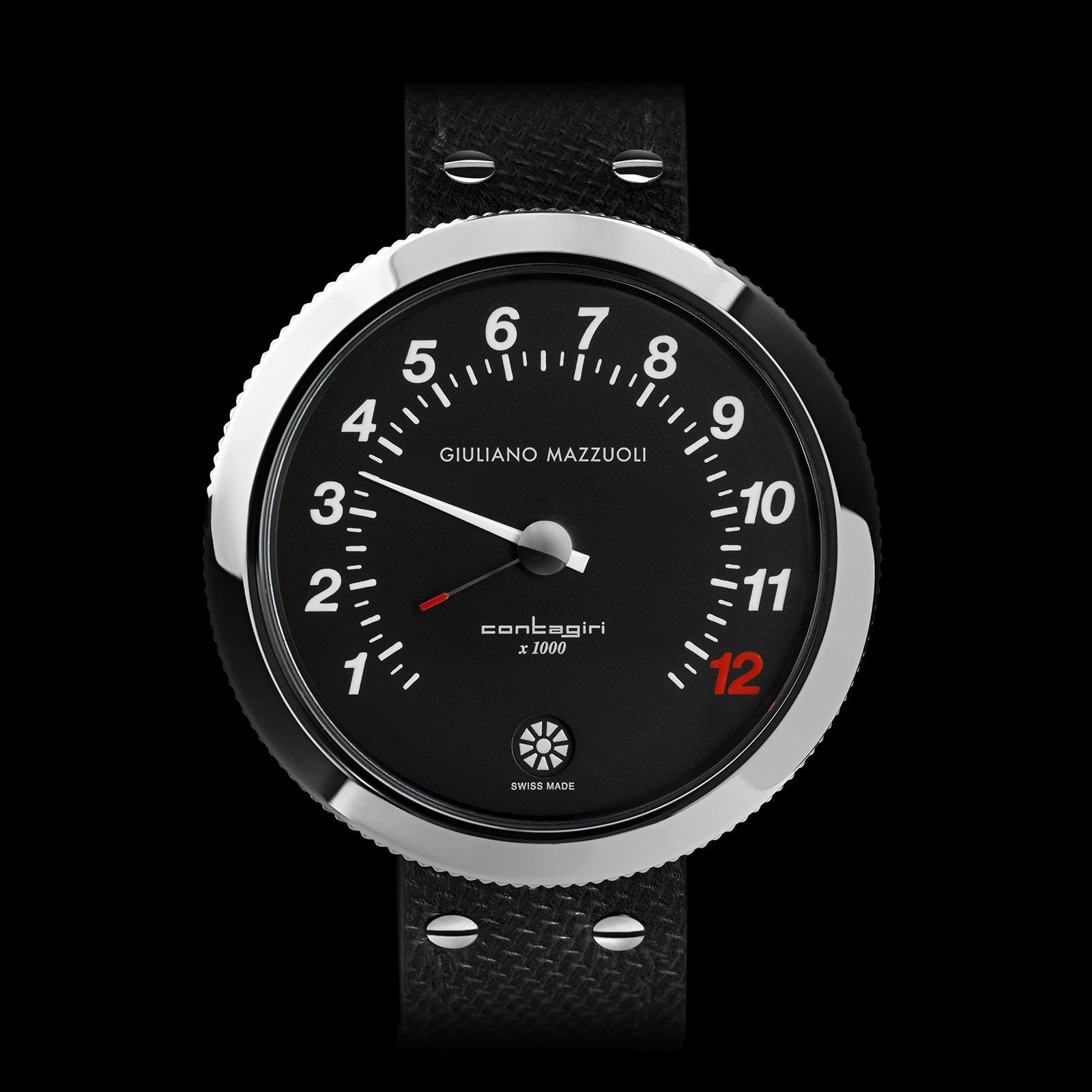 Contagiri matt DLC all-black watch front