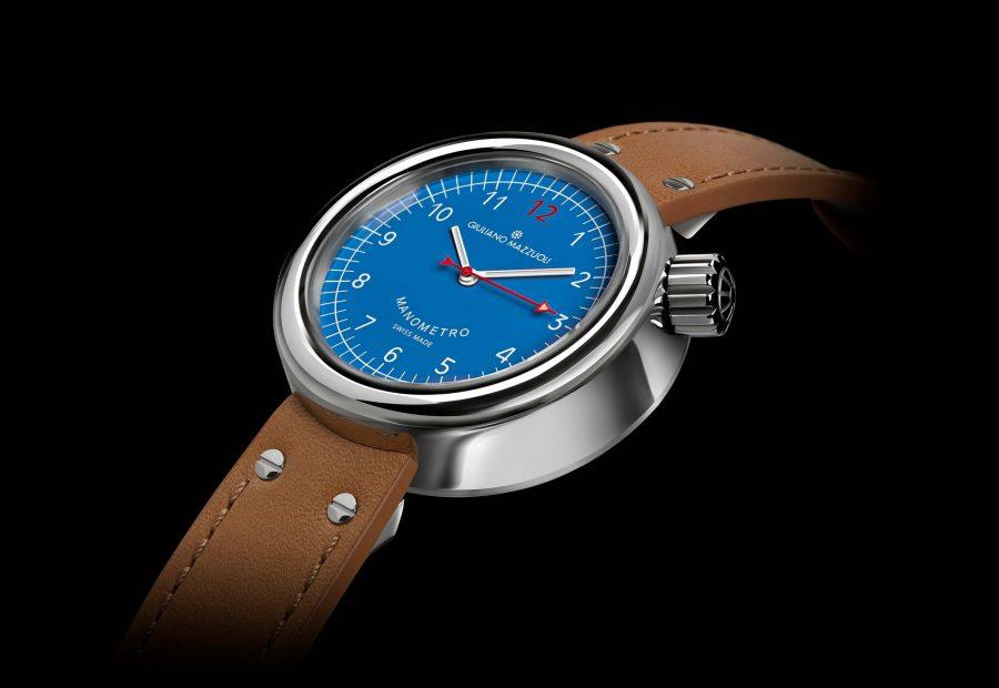 Manometro watch polished blue profile