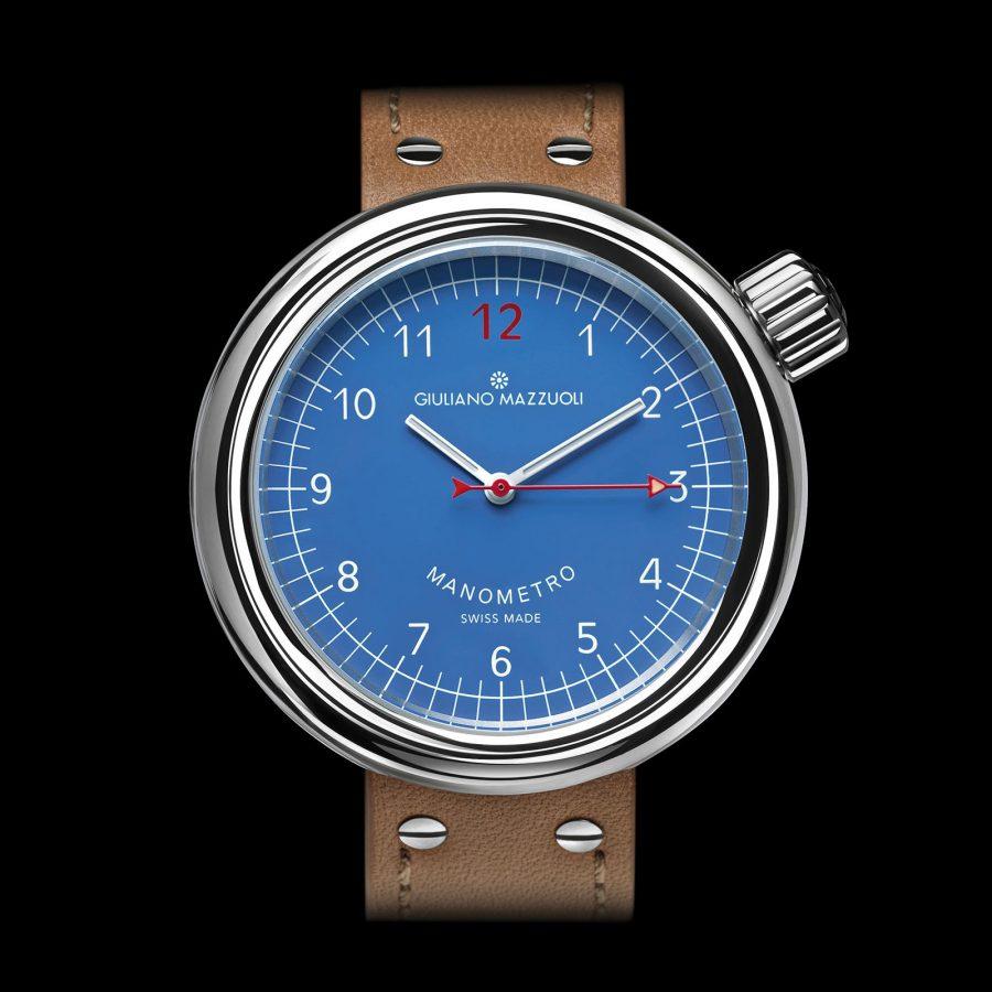 Manometro watch polished blue front
