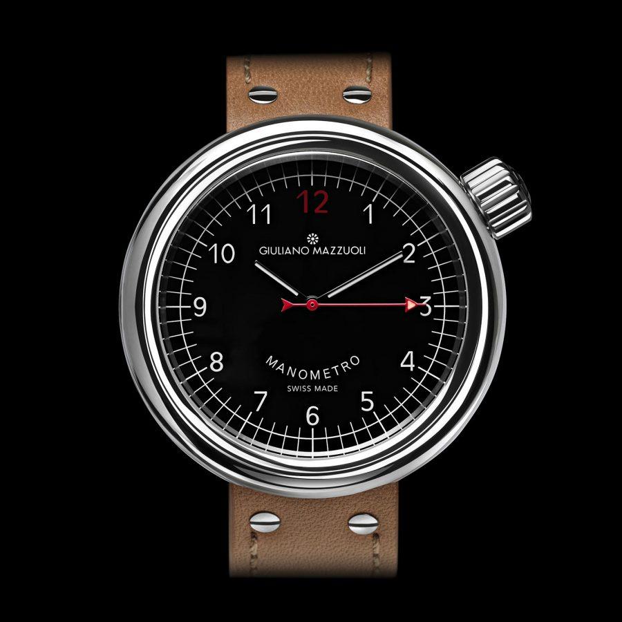 Manometro watch polished black front